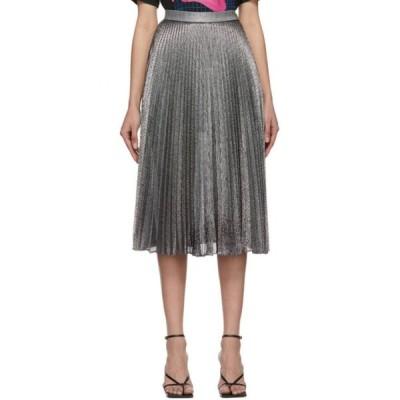 クリストファー ケイン Christopher Kane レディース ひざ丈スカート スカート Silver Pleated Lame Mesh Skirt Black/Silver