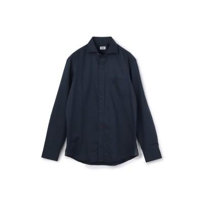 (CROWDED CLOSET/クラウデッドクローゼット)小紋柄ジャガードシャツ/ホリゾンタルカラー/コットン100%/メンズ ネイビー