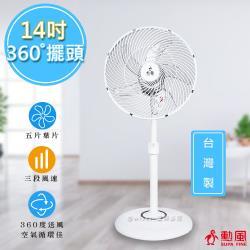 驚喜價↘【勳風】14吋360度擺頭超廣角立扇循環扇(HF-B1226)台灣製造-庫