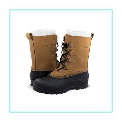 【新品】Men's Leather Waterproof Winter Snow Skid Boots,Classic Felt Lined Warm Snow Duck Boots for Men(並行輸入品)