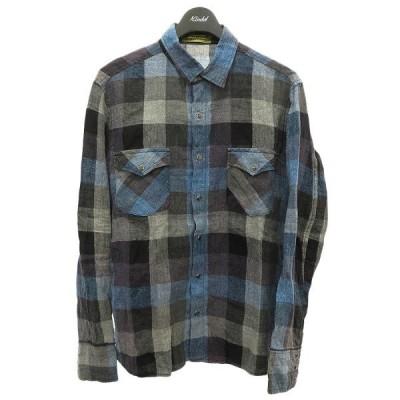 BACKBONE THE BASIS リネンチェックシャツ ネイビー サイズ:M (明石店) 210214