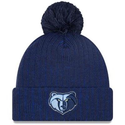 ニューエラ メンズ 帽子 アクセサリー Memphis Grizzlies New Era Breeze Cuffed Knit Hat with Pom Navy