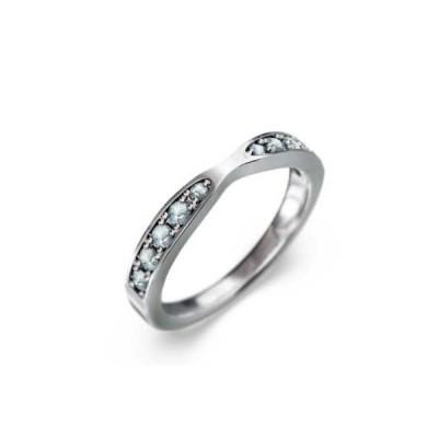 指輪 アクアマリン 10金ホワイトゴールド 3月誕生石
