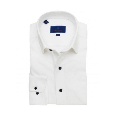 David Donahue メンズ 男性用 ファッション ボタンシャツ Trim Fit Knit Fusion Shirt - White