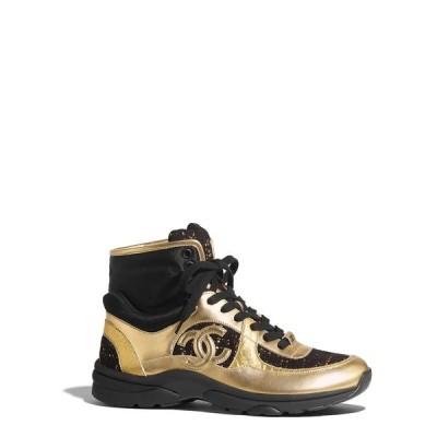 シャネル CHANEL スニーカー シューズ 靴 サテン フィニッシュ ラムスキン ファブリック ツイード ゴールド ブラック