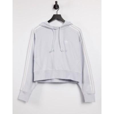 アディダス レディース パーカー・スウェット アウター adidas Originals adicolor 3-Stripes logo cropped hoodie in halo blue Blues