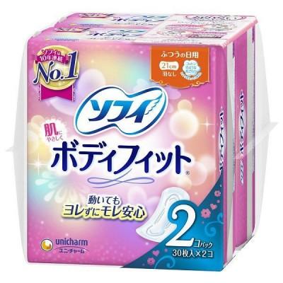ナプキン 生理用品 ふつうの日用 羽なし ソフィ ボディフィット 1セット(30枚×2個) ユニ・チャーム