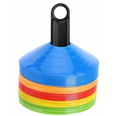 BiAnYC マーカーコーン トレーニングコーン コンパクト マーカーディスク サッカー/フットサル用 カラーコーン 5色 50枚セット収納袋付き