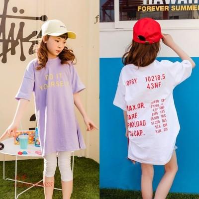 ブランドベビー女 子シャツ新 2019 ママ 韓国 Tシャツロング手紙半袖子供 Tシャツドレストップス Tシャツ 子供たち #3802 キッズ から グループ上 中