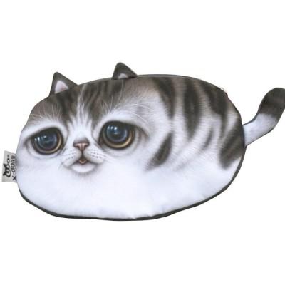 [OHAGI] 猫 小物入れ 小銭入れ コインケース ロング ポーチ バッグハンガー セット (C)
