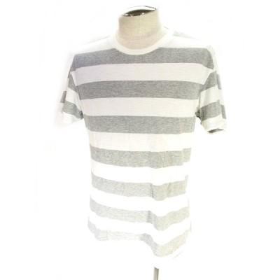 【中古】ユニクロ UNIQLO Tシャツ カットソー 半袖 クルーネック ボーダー ホワイト グレー M メンズ 【ベクトル 古着】