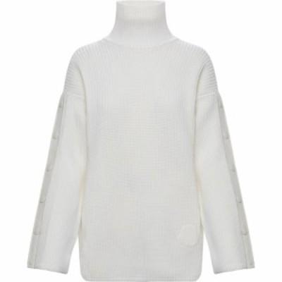 モンクレール MONCLER レディース ニット・セーター トップス Snap Sleeve Wool Turtleneck Sweater White