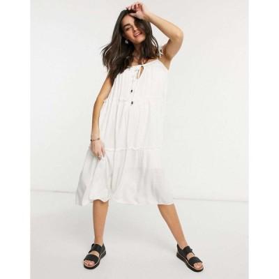 リズム ミディドレス レディース Rhythm Olivia tiered midi dress エイソス ASOS ホワイト 白
