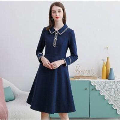 ドレス シフォンドレス ワンピース 大きいサイズ 襟付き Aライン ステッチライン 無地 ひざ丈 ワンピ レディース