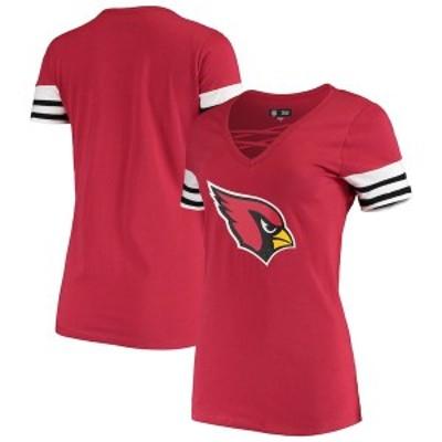ニューエラ レディース Tシャツ トップス Arizona Cardinals New Era Women's Contrast Sleeve Stripe V-Neck T-Shirt Cardinal