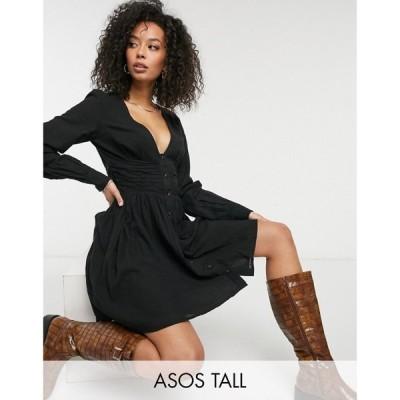 エイソス ASOS Tall レディース ワンピース ミニ丈 ASOS DESIGN Tall crinkle button through mini tea dress with ruched waist in black ブラック