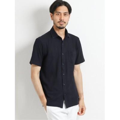 (TAKA-Q/タカキュー)MVSリンクスチェック 半袖カットシャツ/メンズ ネイビー