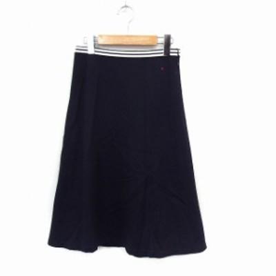 【中古】マリンフランセーズ LA MARINE FRANCAISE スカート フレア 膝下丈 シンプル サイドジップ 0 ネイビー /ST10