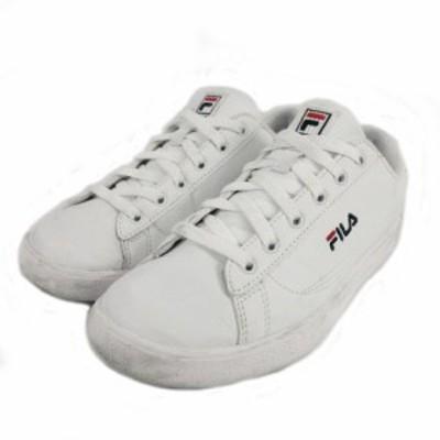 【中古】フィラ FILA スニーカー COURT ACE コート エース 1TM00645-147 靴 ロゴ 刺繍 ホワイト 白 39 レディース