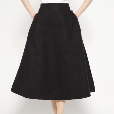 スタイルブロック STYLEBLOCK フェイクウールフレアスカート (ブラック)