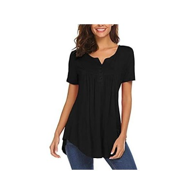 Summer Tops?for?Women,?Ladies?Henley?V?Neck?Short?Sleeve?Casual?Loose?Fitti