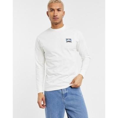 バンズ メンズ シャツ トップス Vans Mountain back print long sleeve t-shirt in cream Exclusive at ASOS
