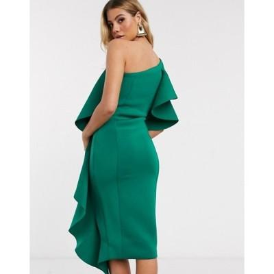 ラビッシュアリス レディース ワンピース トップス Lavish Alice ruffle cold shoulder scuba midi dress in green