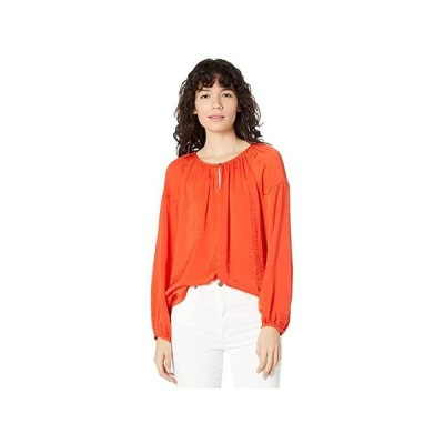 Vince Camuto Long Sleeve Keyhole Front Rumple Peasant レディース シャツ トップス Passion Fruit
