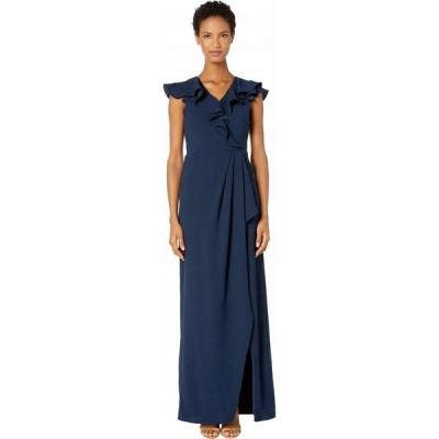 モニーク ルイリエ ML Monique Lhuillier レディース ワンピース ラップドレス ワンピース・ドレス Crepe Full-Length Ruffled Wrap Dress Navy