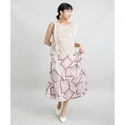 【ミリオンカラッツ】【TV着用商品】【STYLE4】パネルスカーフ柄スカート