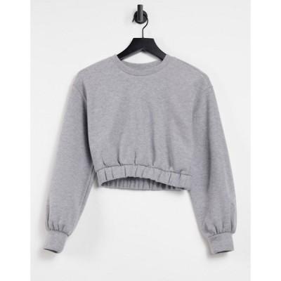 プル&ベアー Pull&Bear レディース スウェット・トレーナー トップス Soft Touch Cropped Sweatshirt Co-Ord In Grey グレー