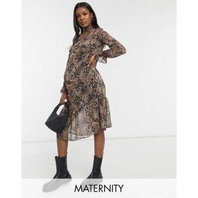 ニュールック New Look Maternity レディース ワンピース ミドル丈 ワンピース・ドレス chiffon midi dress in leopard レオパード
