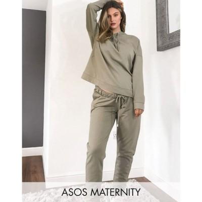 エイソス ASOS Maternity レディース ジョガーパンツ ASOS DESIGN Maternity tracksuit hoodie / slim jogger with tie in organic cotton in pale khaki