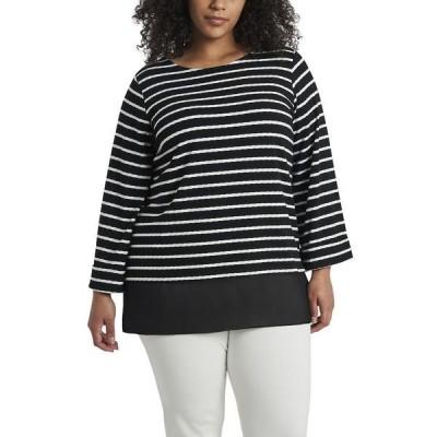 ヴィンスカムート カットソー トップス レディース Women's Plus Size Long Sleeve Stripe Tunic Rich Black
