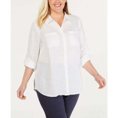 チャータークラブ Charter Club レディース ブラウス・シャツ 大きいサイズ トップス Plus Size Linen Utility Shirt Bright White