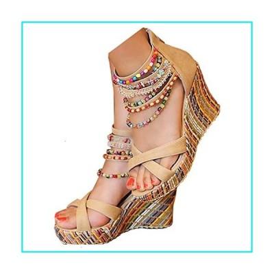 getmorebeauty Women's Wedge Sandals Pearls Across The Top Platform High Heels (7.5 US, Beige)【並行輸入品】
