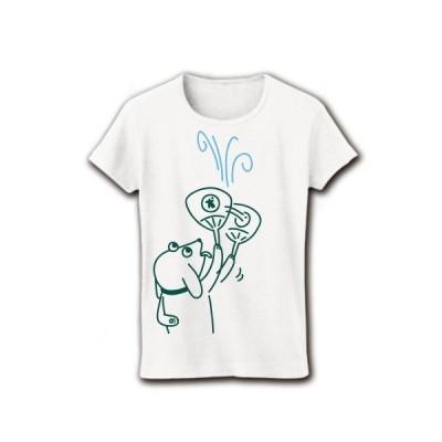 団扇で風を送るイヌ リブクルーネックTシャツ(ホワイト)