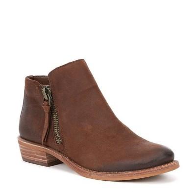 ジービー レディース ブーツ&レインブーツ シューズ A-Lister Double Zip Closure Leather Block Heel Booties Walnut