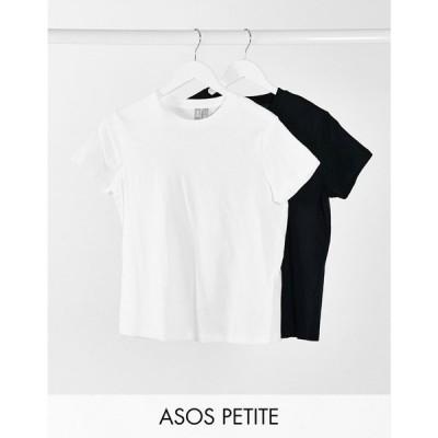 エイソス ASOS Petite レディース Tシャツ 2点セット ASOS DESIGN Petite ultimate organic cotton t-shirt with crew neck 2 pack SAVE ブラック/ホワイト