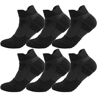 靴下 メンズ くるぶし スポーツソックス 6足セット 消臭抗菌 24-28cm ショート スニーカー (D-ブラック)