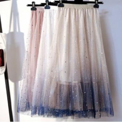 サイズ豊富 スカート 大きいサイズ ラメ 星 キラキラ グラデーション シフォン ミモレ丈
