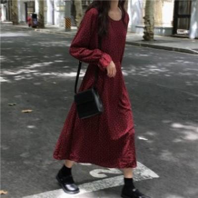 オルチャン 韓国 ファッション レディース ドット柄 ワンピース ワンピ ロング 長袖 ゆったり レトロ 体型カバー 大人可愛い