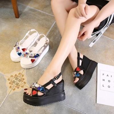 サンダル レディース 人気 履きやすい ヒール 厚底 安い 新作ウェッジ ソール 靴 可愛い ラインストーン #2595
