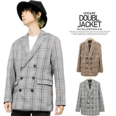 送料無料 ダブルジャケット メンズ グレンチェック ダブルボタン テーラードジャケット アウター チェック柄 羽織り 軽量 チェックジャケット