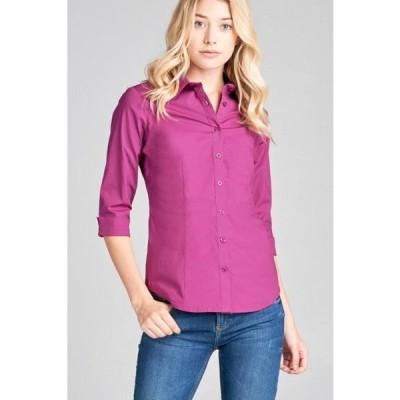 レディース 衣類 トップス Women's Classic 3/4 Sleeve Button Down Dress Work Shirt Stretch Blouse w/Collar ブラウス&シャツ