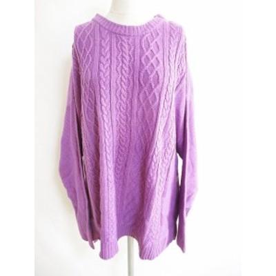 【中古】SMILELAND 大きいサイズ ニット ケーブル編み セーター 紫 3L.4L レディース
