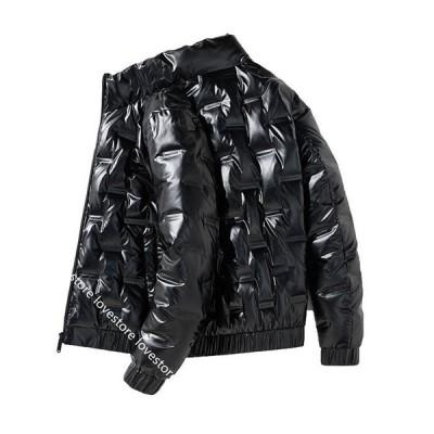 ダウンジャケット メンズ ウィンターコート 大きいサイズ 韓国 光沢 ストリート フード付き カジュアル ウォームジャケット セミロング