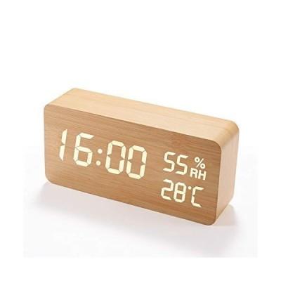 目覚まし時計 木製 大音量 デジタル 置き時計 温度湿度計 (木目調)