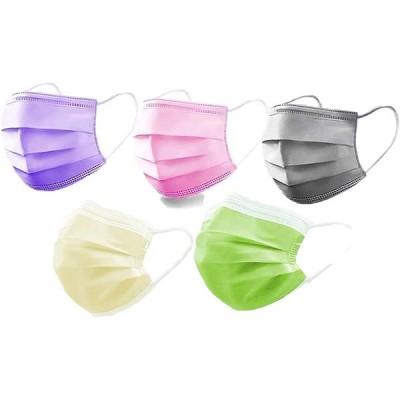 マスク不織布カラー 50枚 使い捨てマスク 個包装 3層構造 不織布 色つきマスク ホコリPM2.5 飛沫をブロック 5色セット
