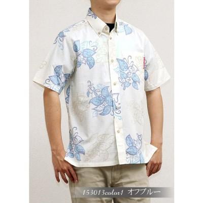 かりゆしウェア 沖縄 アロハシャツ MANGO HOUSE リゾート 結婚式 お揃い ペア 153013 ペイズリーデイゴ(スリムフィットサイズ|裏地仕様) メンズ
